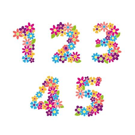PiÄ™kny kwiatowy Vector numery Ilustracja