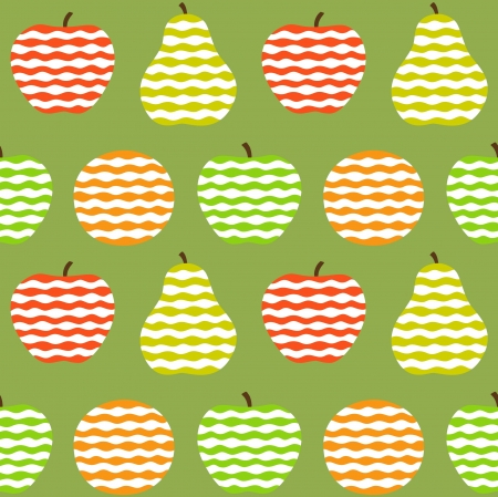 divided: Stylized fruits on green background