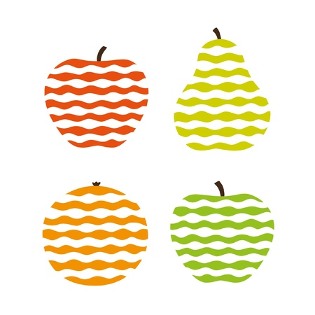 Stylized fruit icons Vector