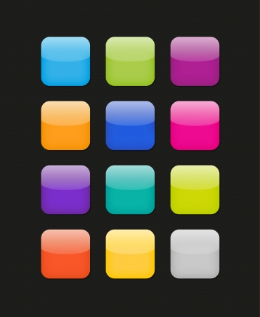 rectangle button: Vector color phone style icons