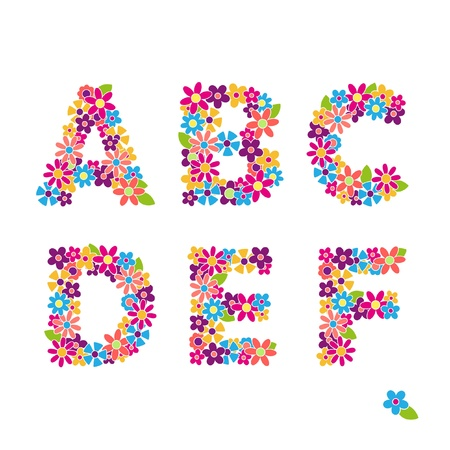 Beautiful floral letters Vector