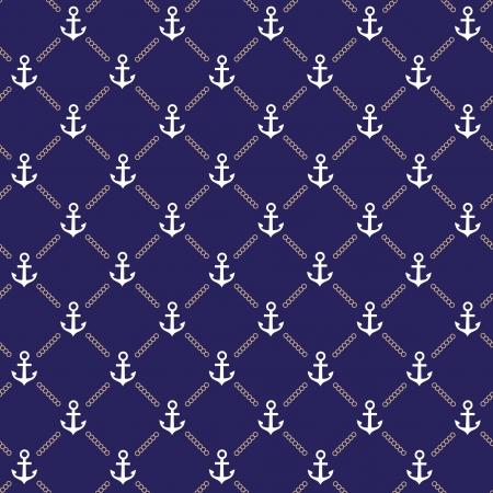 Vector anker donkerblauw patroon Vector Illustratie