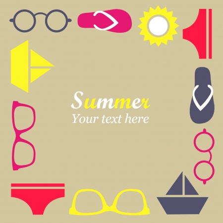 Cute summer frame Vector