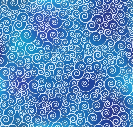 Seamless blue curl pattern   background Vector