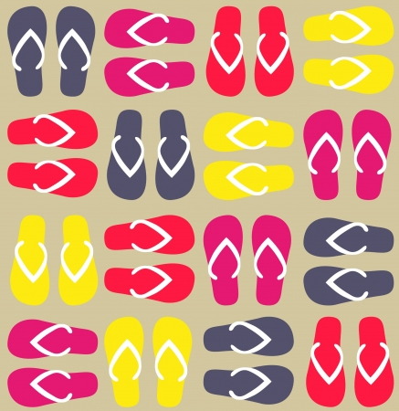 Funny flip flops pattern  illustration Vector