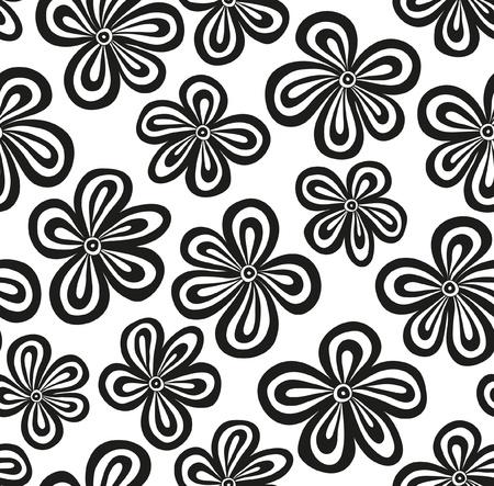 siyah: Dikişsiz siyah ve beyaz çiçek desen illüstrasyon Çizim