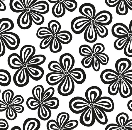 black textured background: Seamless black and white floral pattern  illustration Illustration