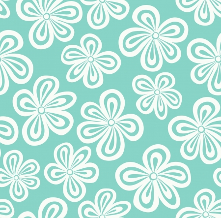 Seamless light blue floral pattern illustration Vector