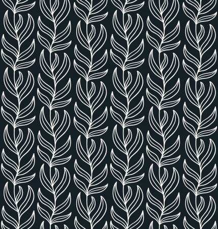 liana: Seamless liana ornament  Black and white   illustration