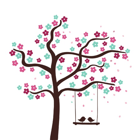 Spring flower love tree  illustration