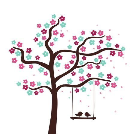 summer love: Spring flower love tree  illustration