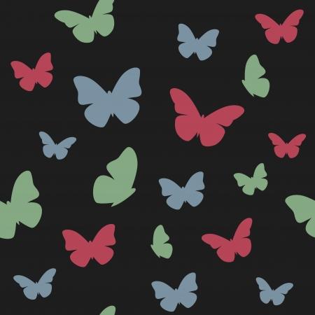 Butterfly dark pattern   illustration Stock Vector - 15094329