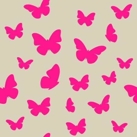 butterfly abstract: Mariposa rosada en el fondo sin fisuras patr�n de color beige