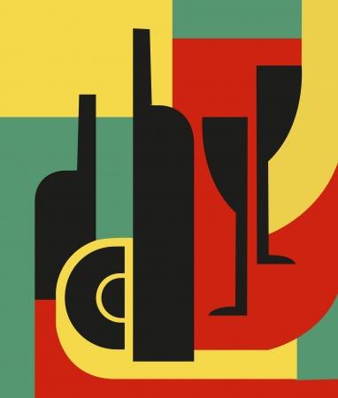 cubismo: Botella y Composici�n abstracta de vidrio