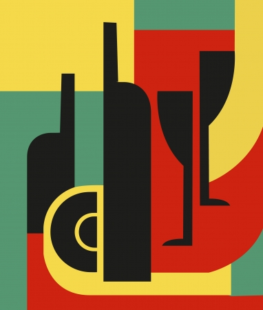 Bottle and glass  Abstract composition Illustration