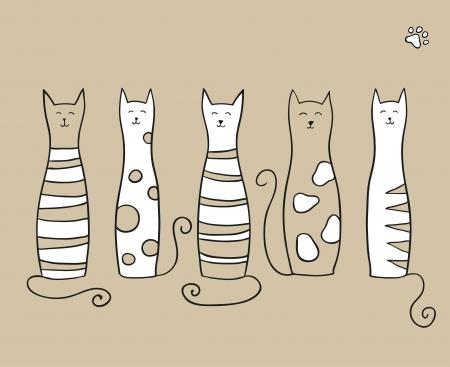 gato dibujo: Cinco gatos divertidos en fondo beige