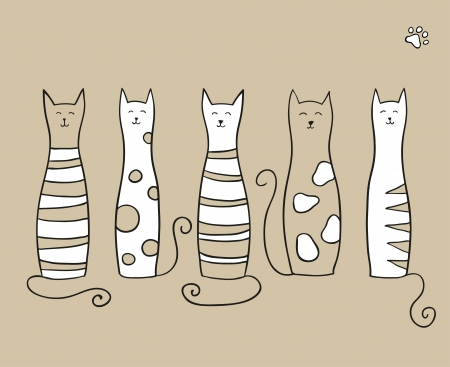 Five funny cats on beige background