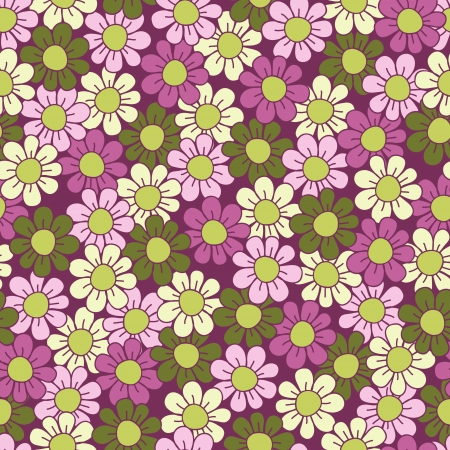 Seamless flower pattern  Green and violet illustration Vector