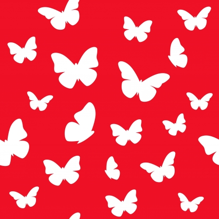 Seamless butterfly red and white pattern  illustration Stock Vector - 15134904