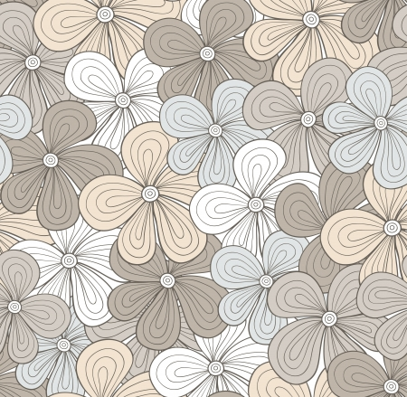 Seamless light gray floral pattern  illustration Vector