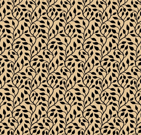 Seamless modern leaf pattern  Black and brown  illustration