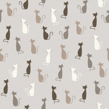 Seamless stylish color cats pattern illustration Stock Vector - 15135120