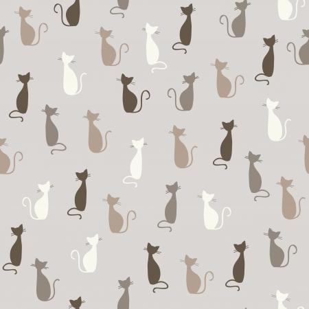 Seamless stylowy kolorowy wzór koty ilustracja
