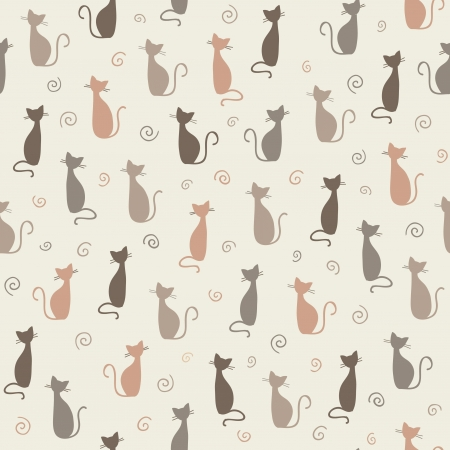 Seamless stylish color cats pattern illustration