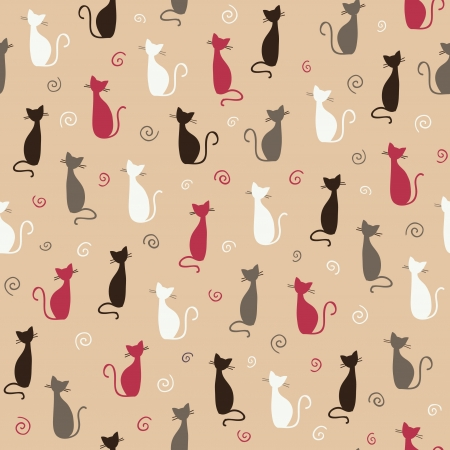 Seamless stylish color cats pattern  illustration Vector