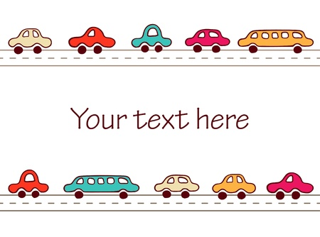 Cute hand drawn cars borders  Vector illustration Illustration