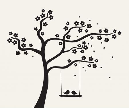 uccelli su ramo: Fiore albero amore con due uccelli, illustrazione