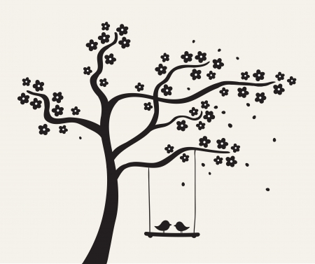 columpio: Flor árbol de amor con dos ilustración aves