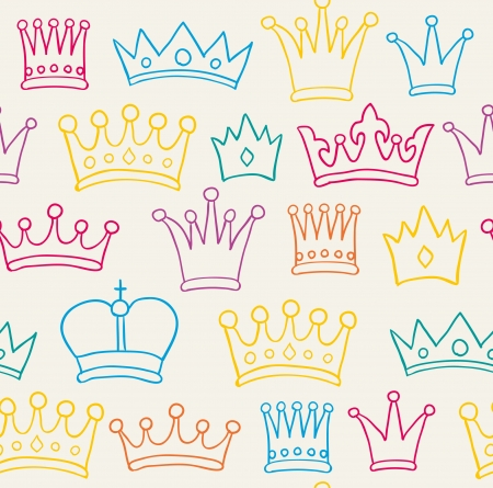 seamless hand drawn color crown pattern