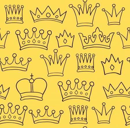 seamless hand drawn yellow crown pattern photo