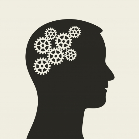 Gears in the head silhouette  illustration