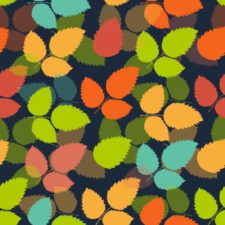 Seamless leaf pattern in bright colors illustration