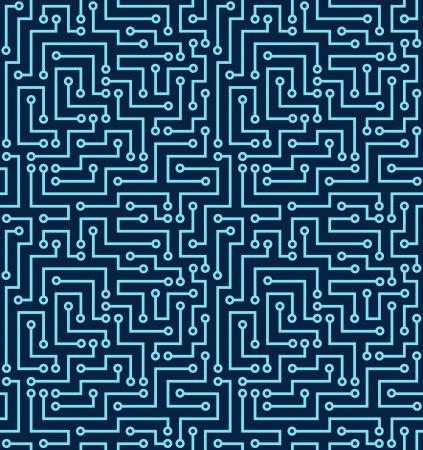 circuitos electricos: Seamless azul oscuro ilustraci�n patr�n electr�nico Vectores