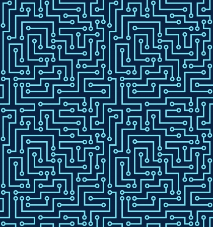Seamless dark blue electronic pattern  illustration Vector