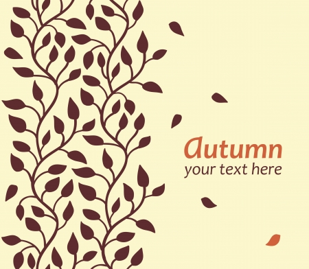 vertical garden: Stylish autumn leaf card  Seamless border Illustration
