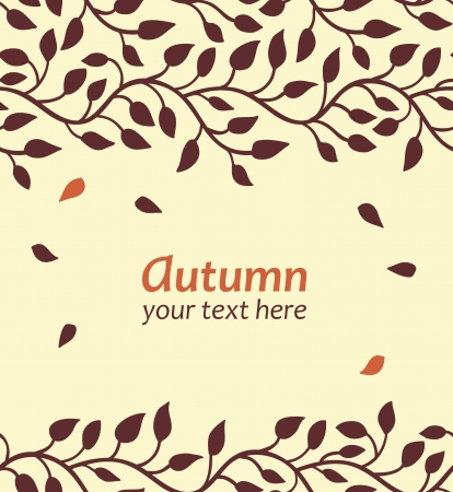 fall line: Stylish autumn leaf card  Seamless borders