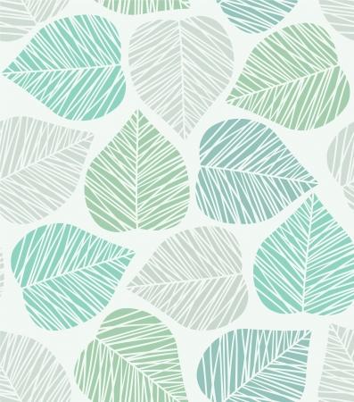Naadloze blauwe gestileerde blad patroon Stock Illustratie