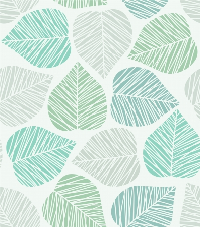 Seamless blue stylized leaf pattern Illustration