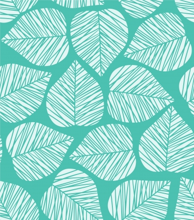 leaf line: Seamless blue stylized leaf pattern Illustration