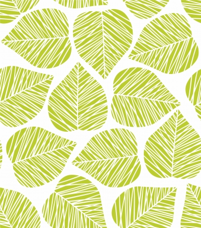 Seamless green stylized leaf pattern Çizim