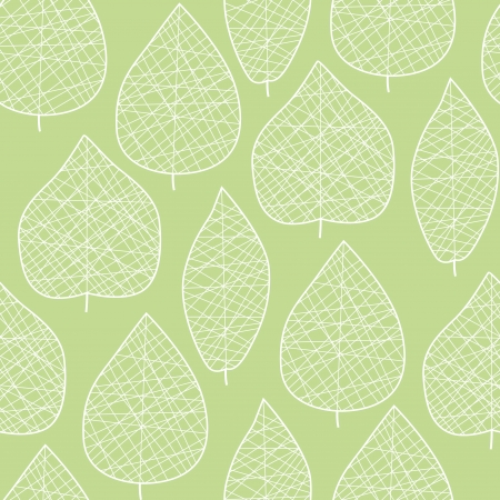 Seamless stylized green leaf pattern Çizim