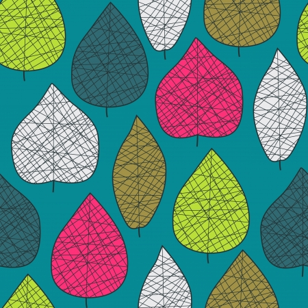 Seamless stylized bright leaf pattern Çizim