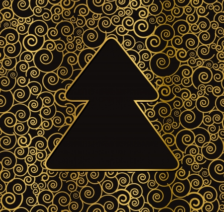 Stylish curly golden christmas card Stock Vector - 15659740