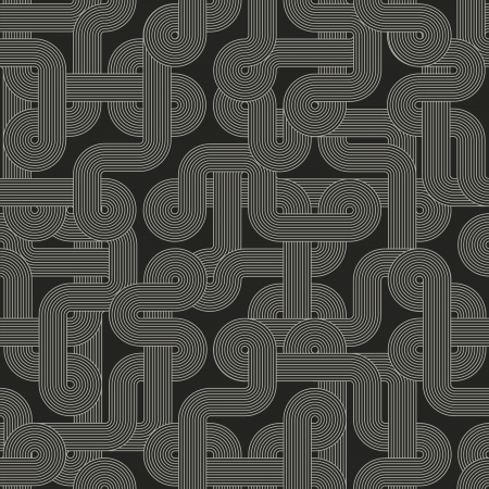 Seamless abstract dark pattern. Twisted lines Vector