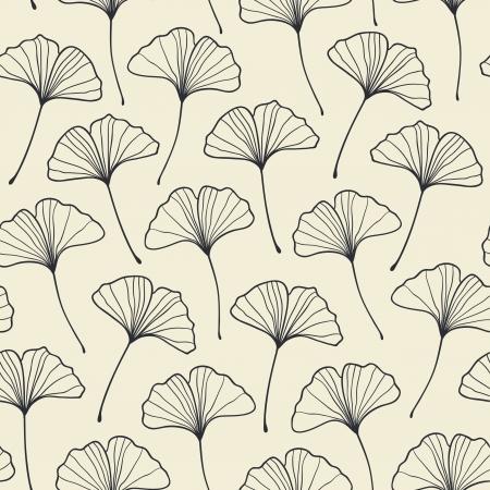 ginkgo leaf: Beautiful seamless light ginkgo pattern