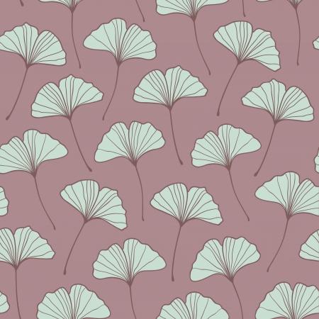 Beautiful seamless violet ginkgo pattern